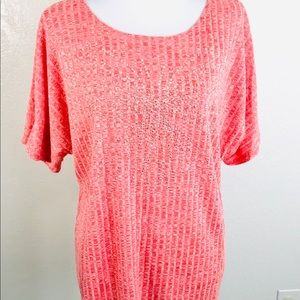 Forever Jade Knit Top Women's Plus 1X Red